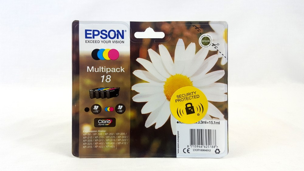 Genuine Epson Multipack 4-colours 18 T1806 Claria Home Ink Cartridges (C13T18064012)
