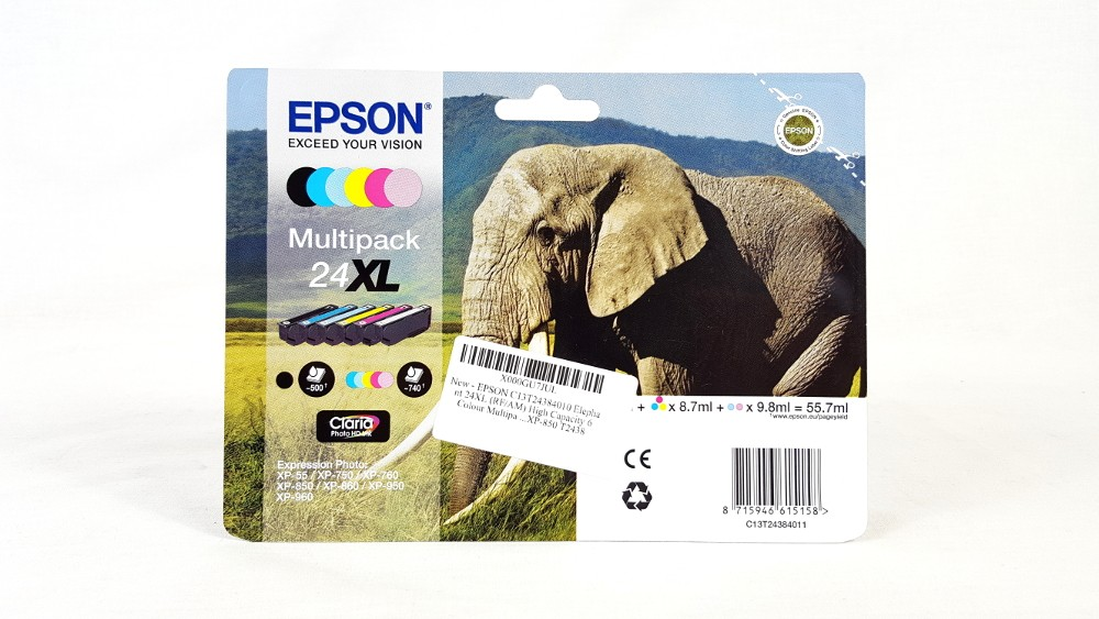 Genuine 6 Colour Epson 24XL High Capacity Ink Cartridge Multipack (C13T24384010)