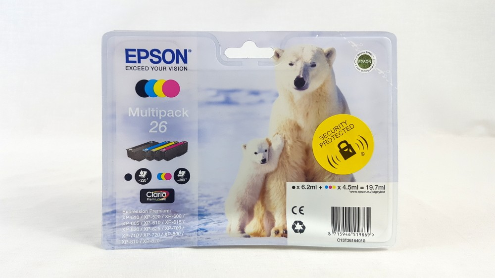Genuine Epson Multipack 4-colours 26 T2616 Claria Premium Ink Cartridges (C13T26164010)