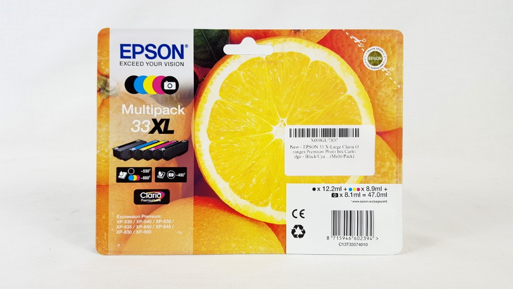 Genuine 5 Colour Epson 33XL High Capacity Ink Cartridge Multipack T3357 (C13T33574010)