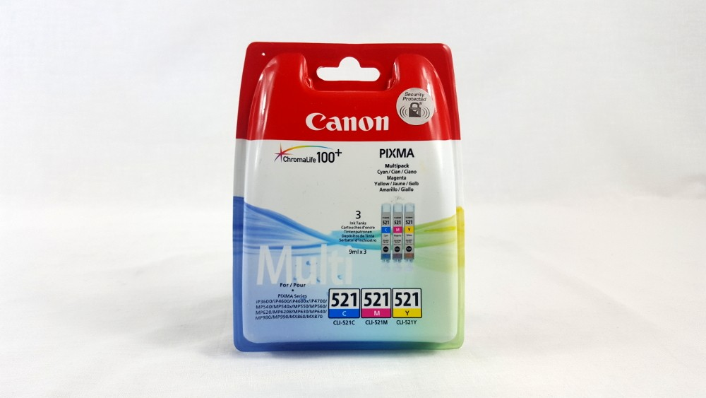 Genuine Canon CLI-521 C/M/Y Colour Ink Cartridge Multipack (2934B010)