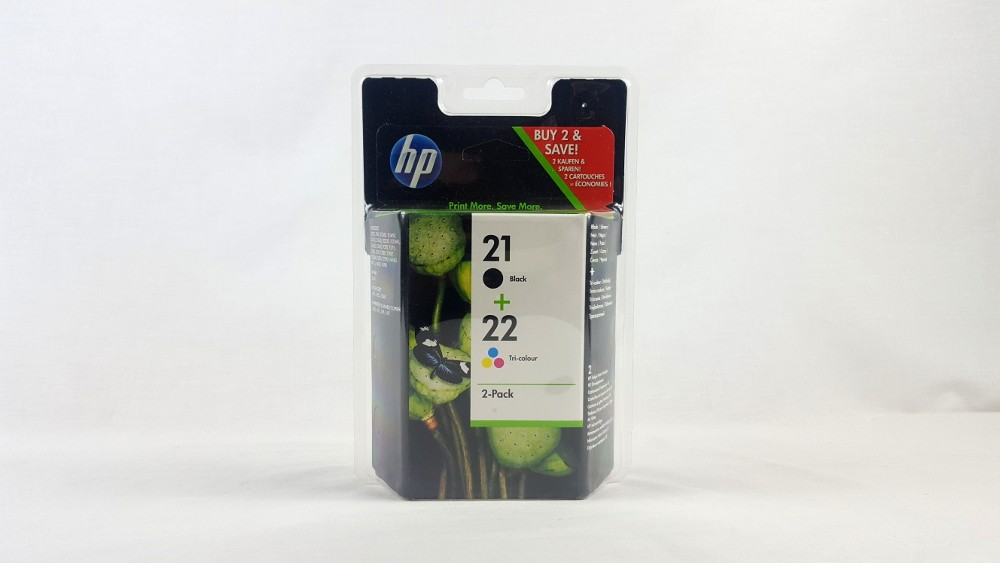 Genuine HP 21 Black/22 Tri-colour 2-pack Original Ink Cartridges (SD367AE)