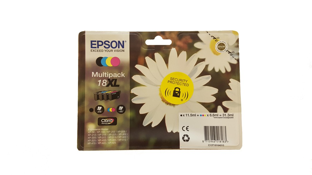 Genuine Epson Multipack 4-colours 18XL T1806 Claria Home Ink Cartridges (C13T18164010)