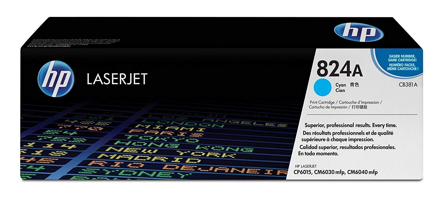Genuine HP 824A Cyan Toner Cartridge (CB381A)
