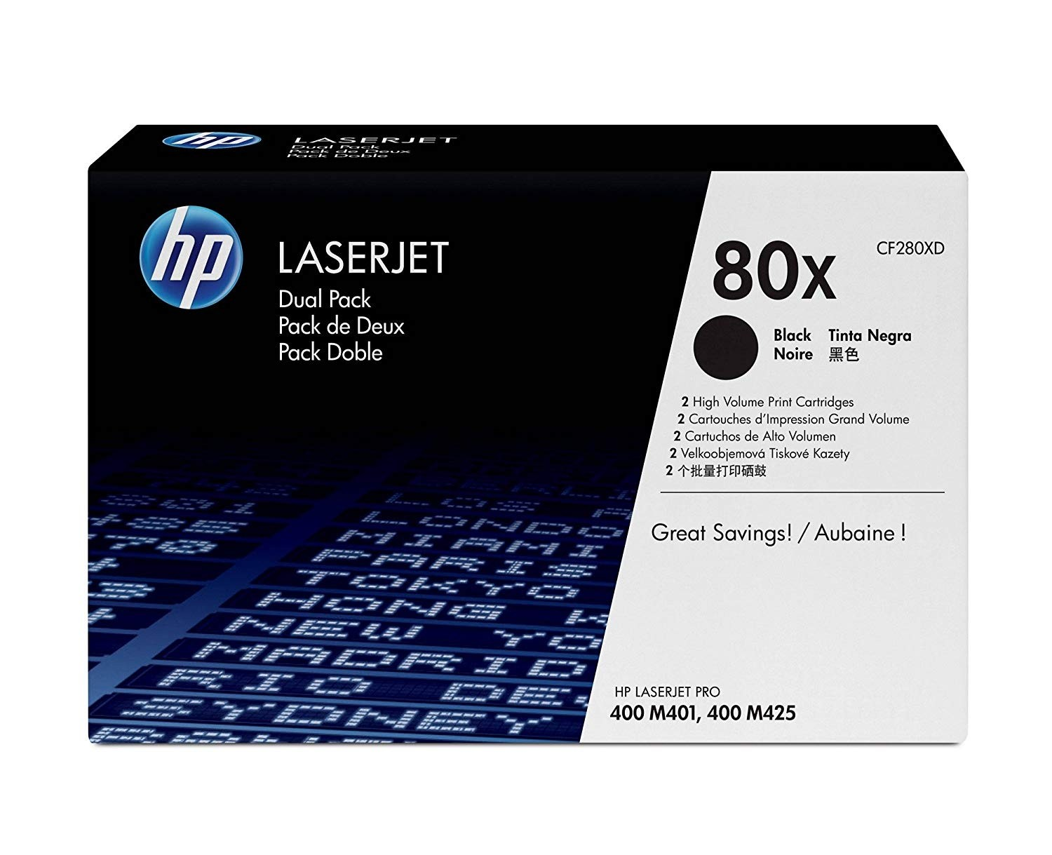 HP 80X High Capacity Black Toner Twin Pack (CF280XD)