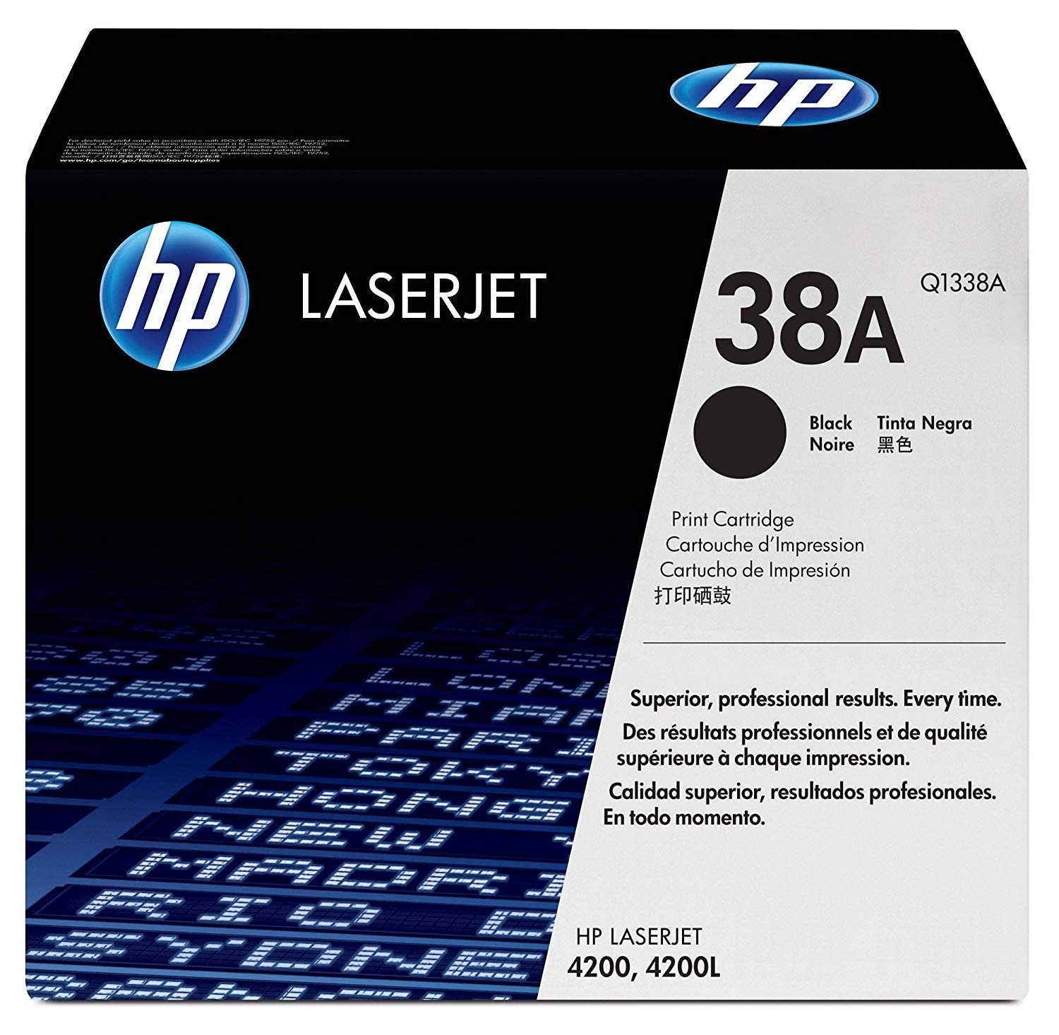 Genuine HP 38A Black Toner Cartridge (Q1338A)